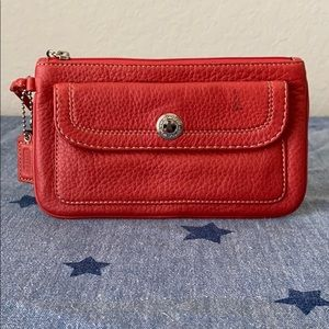 Coach Wristlet in Coral Pebbled Leather